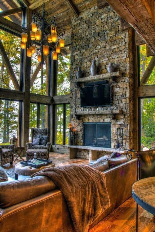 Living Rooms Stone Fireplace Design Floor To Ceiling Ideas