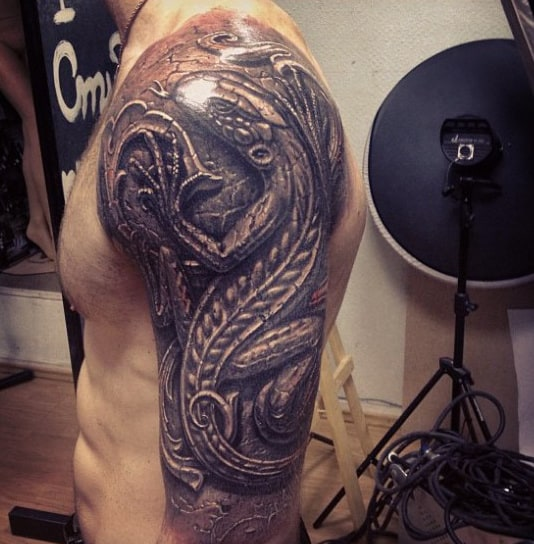 Lizard Stone 3d Mens Half Sleeve Tattoos