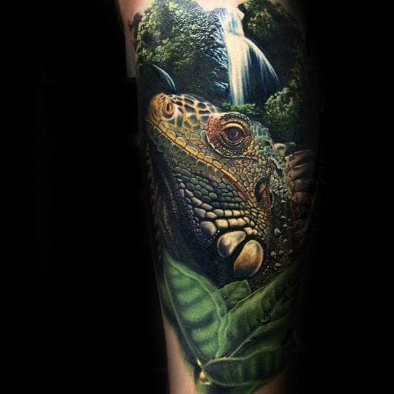 Lizard With Waterfall 3d Mens Realistic Forearm Sleeve Tattoos