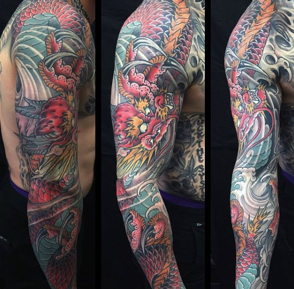 Loathful Dragon Fight Tattoo Male Sleeves
