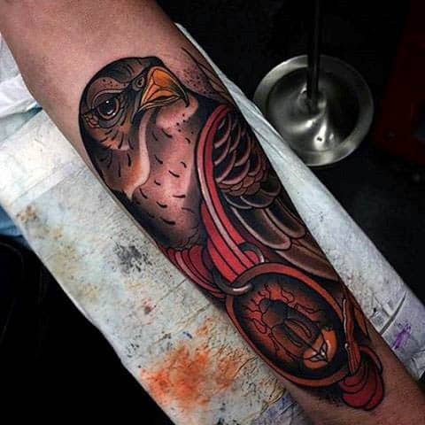 Locked Beetle And Raven Tattoo Mens Forearms
