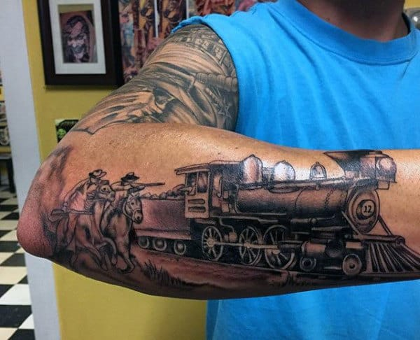 Locomotive Train Tattoos For Men Across Outer Forearm