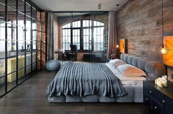 Loft Bedroom Designs Men With Wood Board Wall