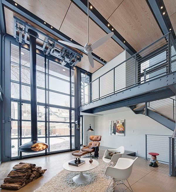 Loft Industrial Interior Design Bachelor Pad Ideas