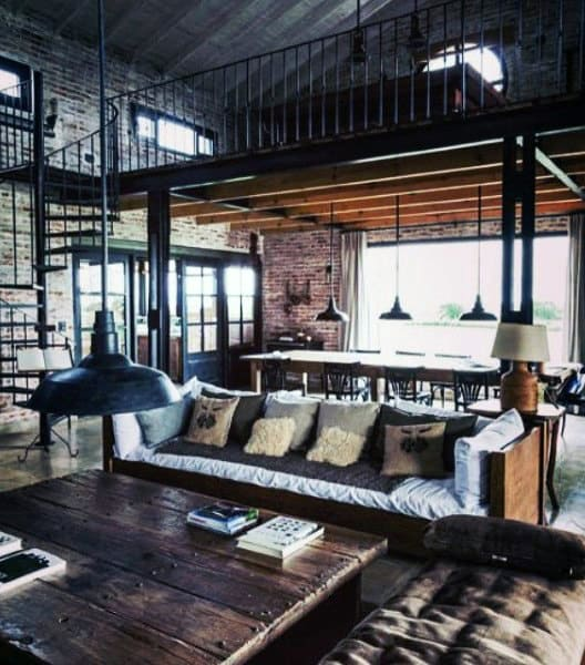 Loft Industrial Living Rooms For Guys