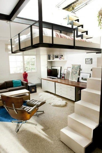 Loft Living Room With Bedroom Above