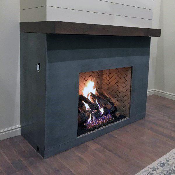 Log Burning Concrete Fireplace Design