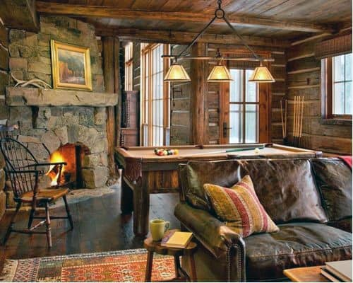 Log Cabin Concrete Fireplace Design
