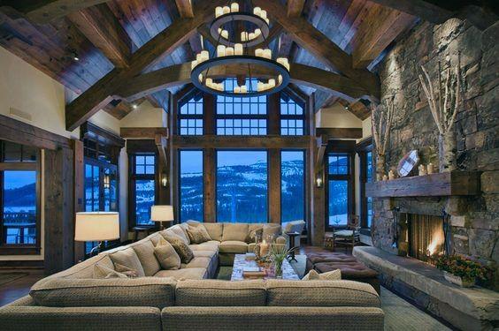 Log Cabin Great Room Ideas Interior Design