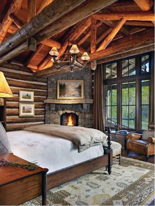 Nice Log Cabin Interior Corner Fireplace Design In Bedroom Of House