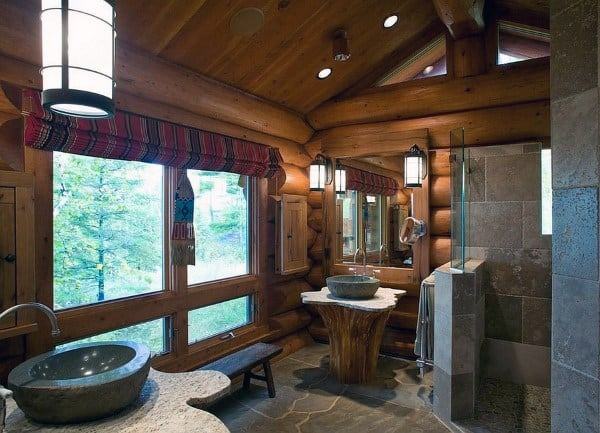 Log Cabin Rustic Bathroom Ideas