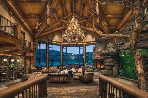 Log Cabin Rustic Great Room Design Ideas