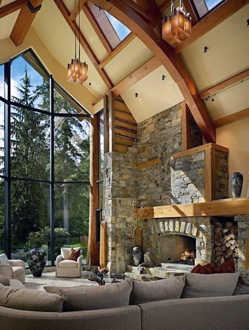 Log Cabin Stone Fireplace Design Living Rooms