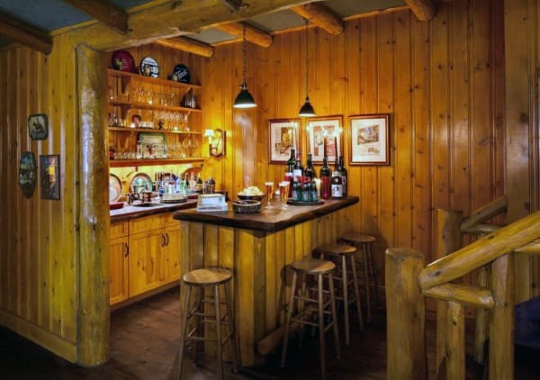 Log Cabin Style Basement Rustic Bar Ideas