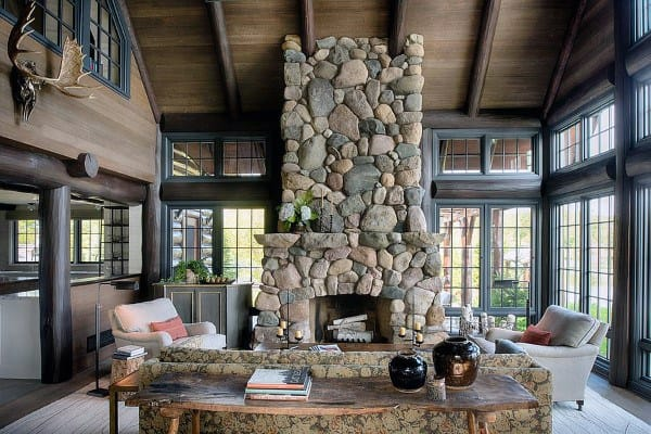 Log Cabin Sunroom Ideas With Stone Fireplace Design