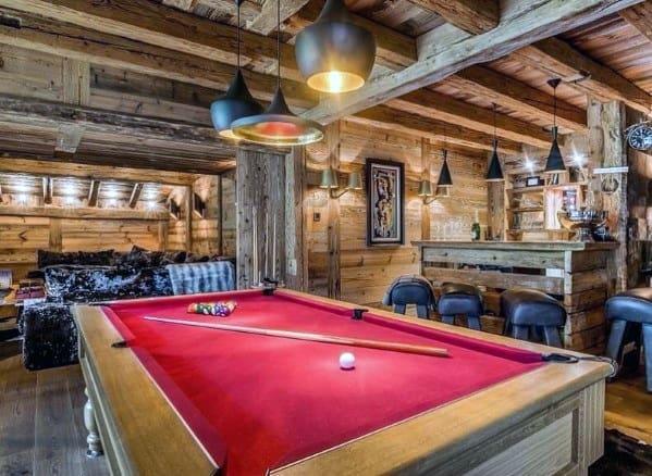 Log Cabin Wood Beam Ceiling Billiards Room Ideas