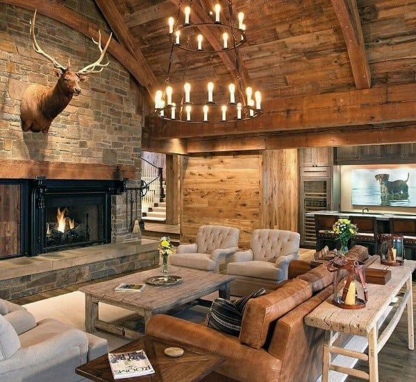 Log Cabin Wood Ceiling Ideas With Rustic Design