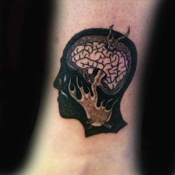 Log Fire Mens Wrist Brain Negative Space Tattoos
