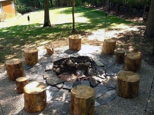 Logs Fire Pit Seating Backyard Design