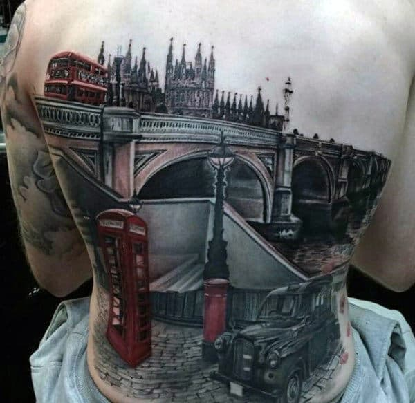 London Building Mens Full Back Tattoos