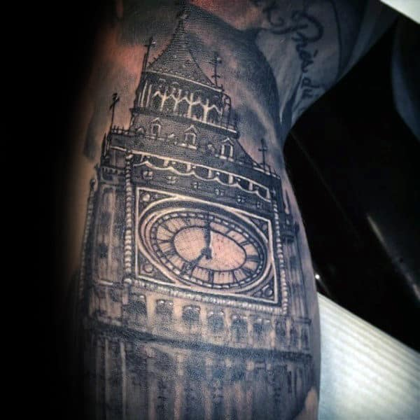 London Clock Tower Mens Building Arm Tattoos