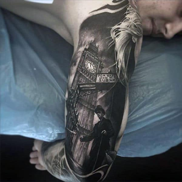 London Tower Clock Black Ink Mens Arm Tattoo With Realistic Design