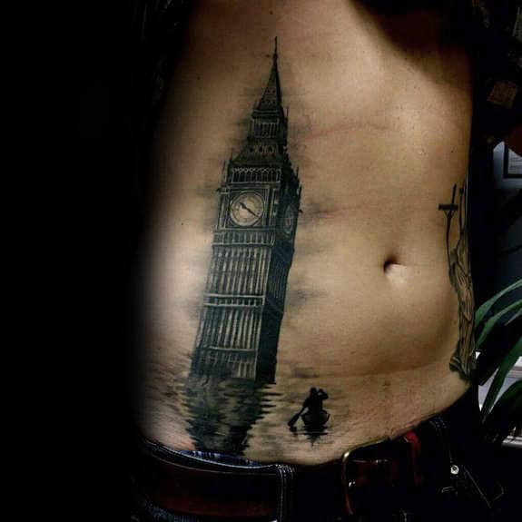 London Tower Under Water Male Building Stomach Tattoos
