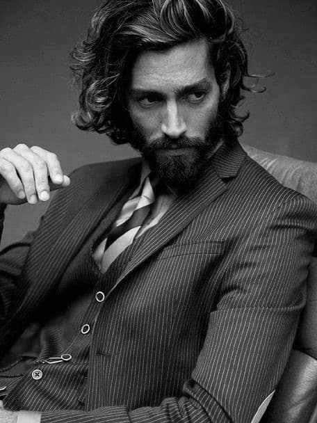 Long Business Professional Flow Hair For Men