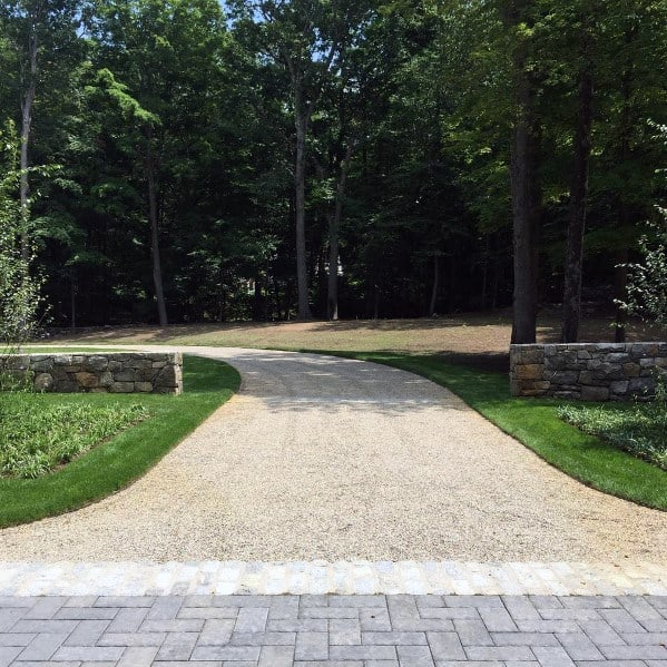 Long Driveway Gravel Ideas With Paver Entrance
