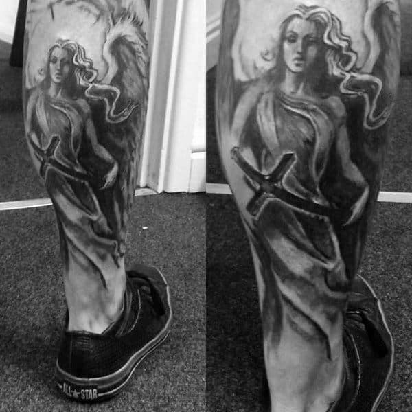 Long Haired Guardian Angel Tattoo Males Calves