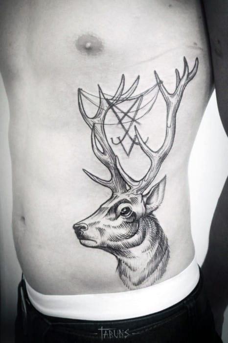 Long Horned Cool Antler Tattoo Male Torso