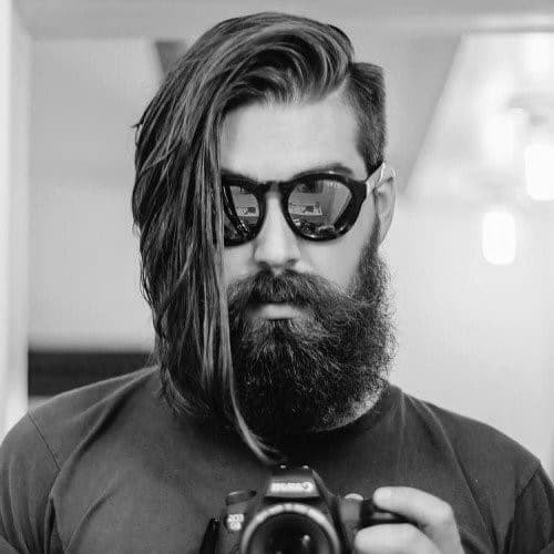 Long Length Undercut Straight Haircut With Beard For Men