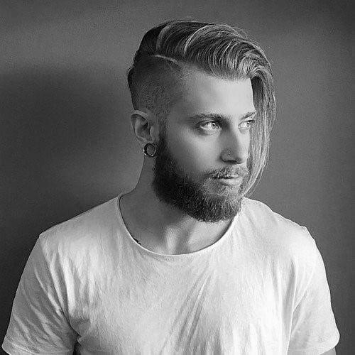 Long Length Undercut With Beard Haircut For Guys