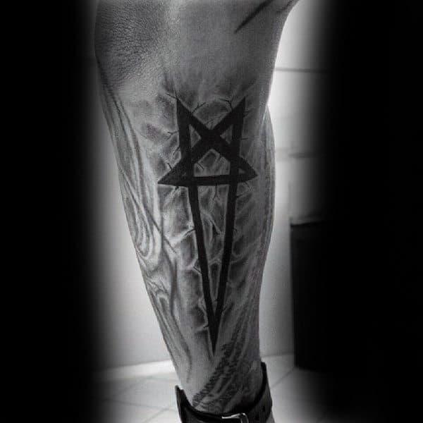 Long Sharp Ended Pentagram Tattoo Guys Forearms