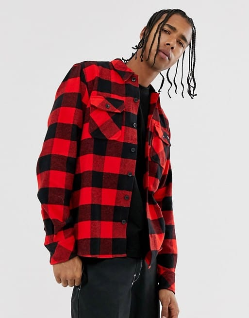 long sleeve check shirt in red