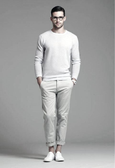 Long Sleeve Shirt With Pants All White Outfits For Men