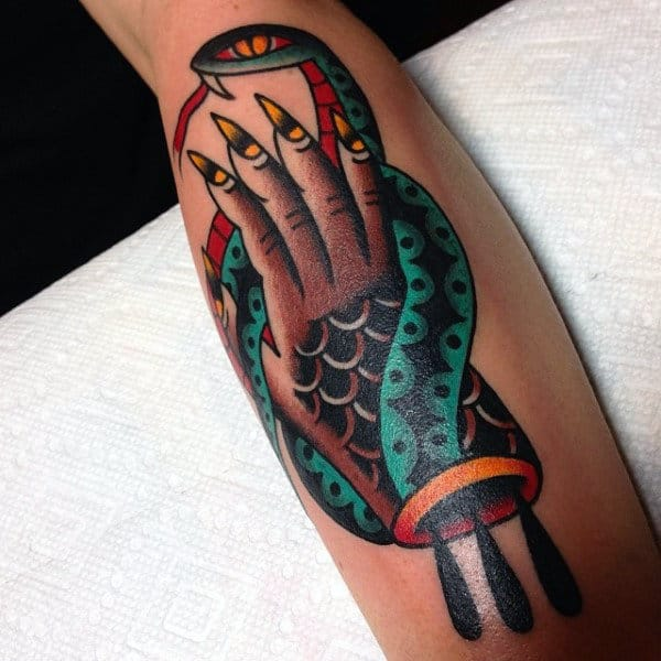 Long Yellow Nailed Hands And Green Snake Tattoo Guys Forearms