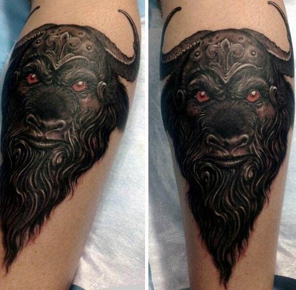 Longhorn Bull Skull Male Tattoos