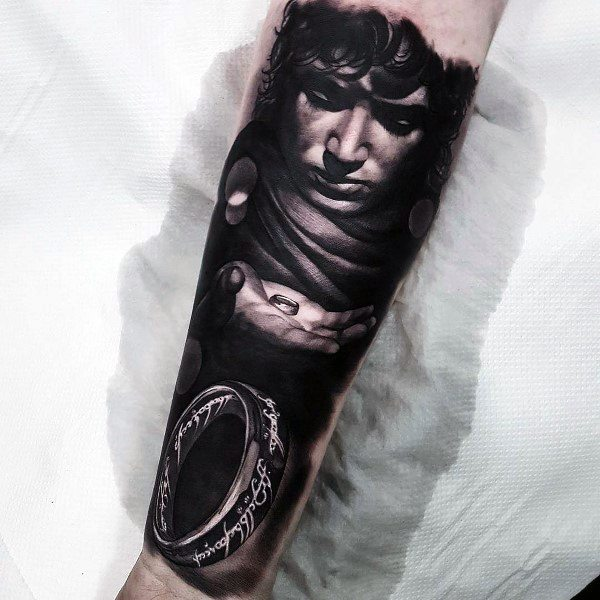 Lord Of The Rings 3d Realistic Coolest Tattoos For Guys Forearm Sleeve