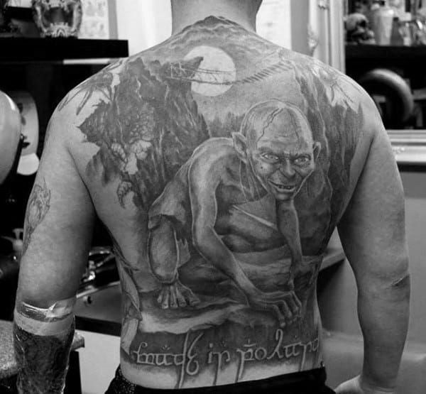 Lord Of The Rings Gollum Guys Full Back Tattoos