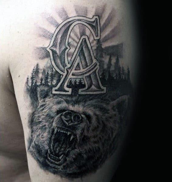 Los Angeles California Bear Mens Upper Arm Tattoo