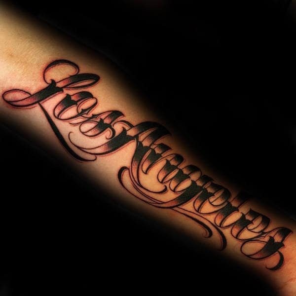 90 script tattoos for men cursive ink design ideas for Cursive writing tattoos