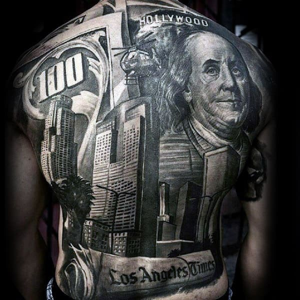 Los Angeles Mens Crazy Full Back Money Themed Tattoos