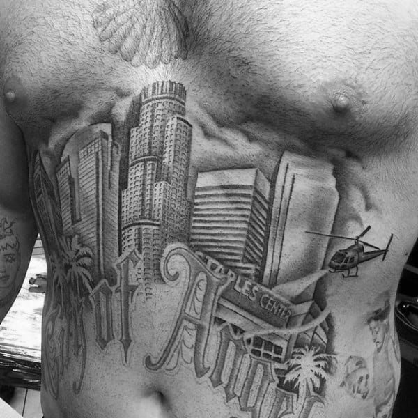 Los Angeles Skylien Mens Building Stomach Tattoos