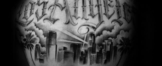 Los Angeles Skyline Tattoo Designs For Men