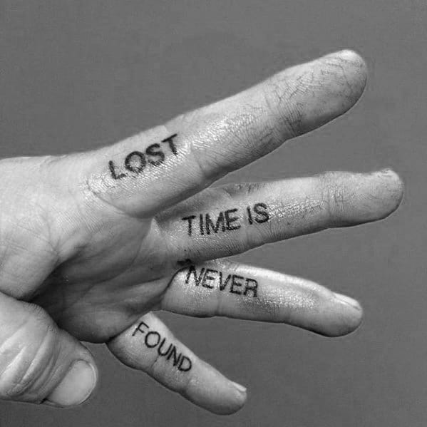 lost-time-is-never-found-quote-male-simple-hand-tattoo-ideas
