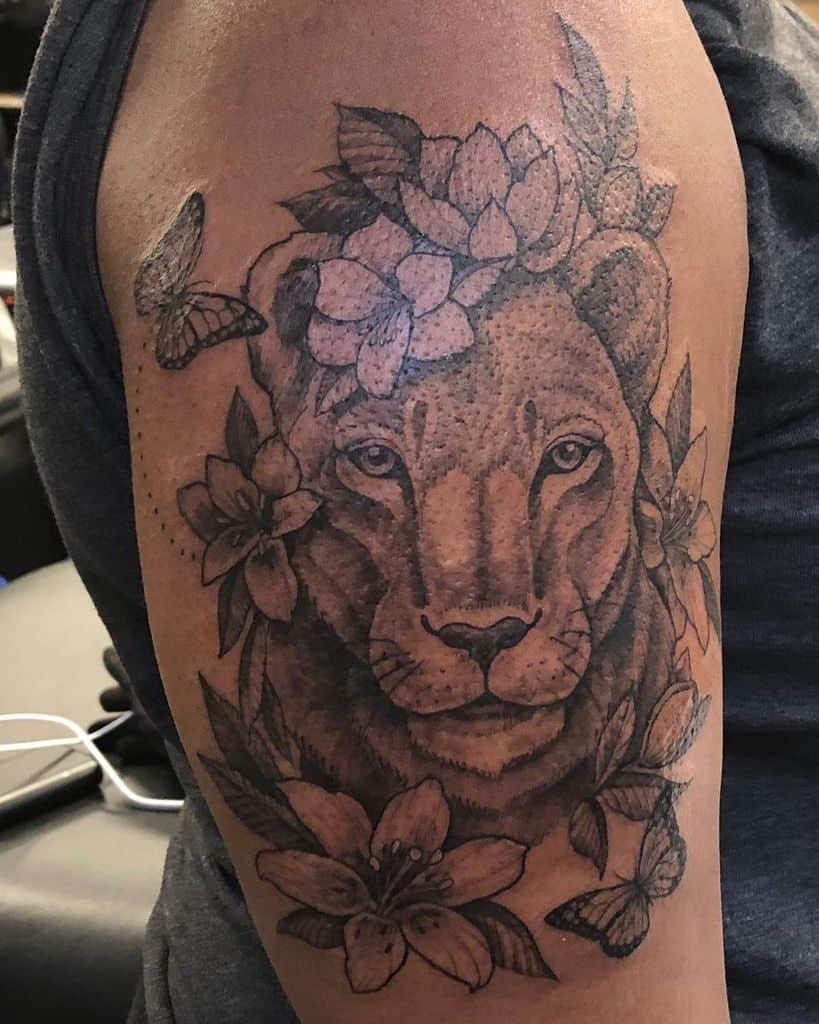 Lotus Flower Lion Tattoo