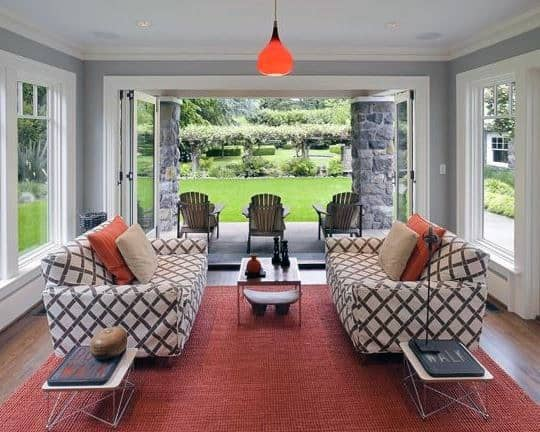 Lounge Chairs Sunroom Design Ideas With Red Rug