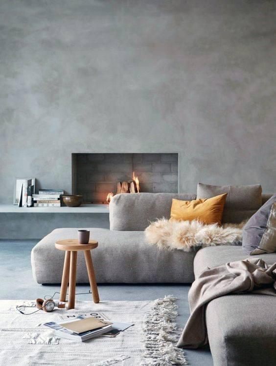 Lounge Concrete Fireplace Design