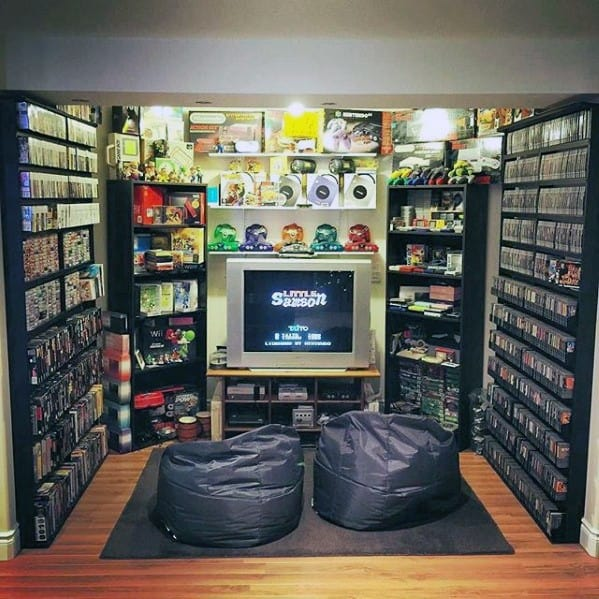 Lounge Gaming Man Cave With Bean Bag Chairs